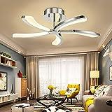 N3 Lighting Moderne Design LED Deckenleuchte Dimmbar Wohnzimmerlampe Esszimmer, Deckenlampe, Esstischleuchte, Pendelleuchte, Esszimmerlampe, Metall Warmweiß, 39W, Chrome, Ø77 x 18cm