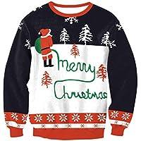FOOBRTOPOO Novedad Navidad Sudadera navideña Papá Noel Sudadera con Estampado Tops Blusa Cuello Redondo Navidad O-Cuello Invierno Casual Manga Larga Sport Jumper-XL (Color : Colorful, tamaño : XL)
