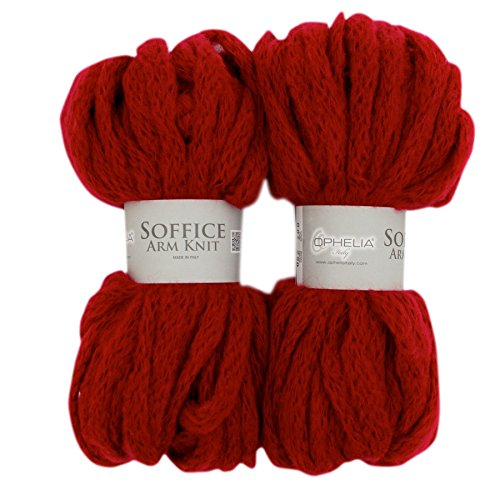 Ophelia-Italy-SofficeArmKnit004-Paket-2-x-100-g-Wollstrang-dickes-rot