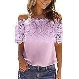 VEMOW Sommer Elegante Damen Mädchen Frauen Durchschauen Spitze Mesh Sheer Long Sleeve Casual Dating Party Täglich Crop Top T-Shirt Bluse T-Shirt Pullover(Rosa, EU-38/CN-S)