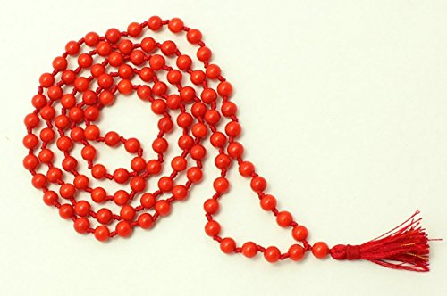 ARIHANT HANDICRAFTS Natural Coral Rosary (Moonga Ki Mala), RED Coral, Coral, Certified MOONGA MALA 8MM Beads Coral MALA/MOONGA MALA / 6MM Coral MALA