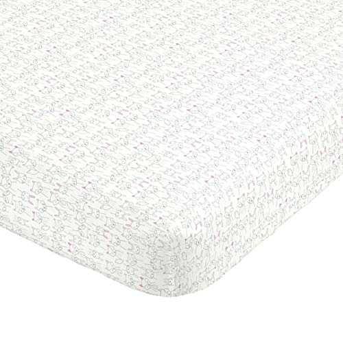 Carter's 100% Cotton Sateen Fitted Crib Sheet, Firetruck, Red, White