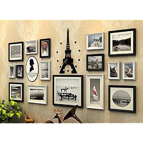 GYN Pared de madera sólida continental foto marco combinación decoración foto Vintage montado combinación creativa foto pared salón fondo cajas pared 16 ,