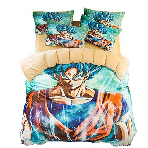 Bed linings Conjuntos Funda Nórdica De Dragon Ball Son Goku Animado Impreso Conjunto De 3 Piezas, 1...