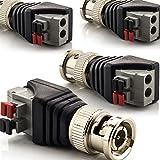zanasta [4 Stück] BNC Stecker Terminalblock Connector zu 2 Pol Adapter, Kabel Verbinder mit Tastenklemme Schwarz-Grau