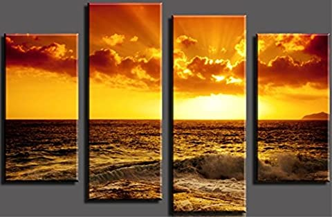 OBELLA New Top Wall Art Canvas Prints 4 Pieces || Beautiful Sunset Sea Wave || Modern Contemporary Posters Oil Paintings Prints and Pictures Photo Image Wall Art Prints on Canvas Painting for Home Bedroom Living Room Wall Decor Christmas Gifts Decoration - Frameless