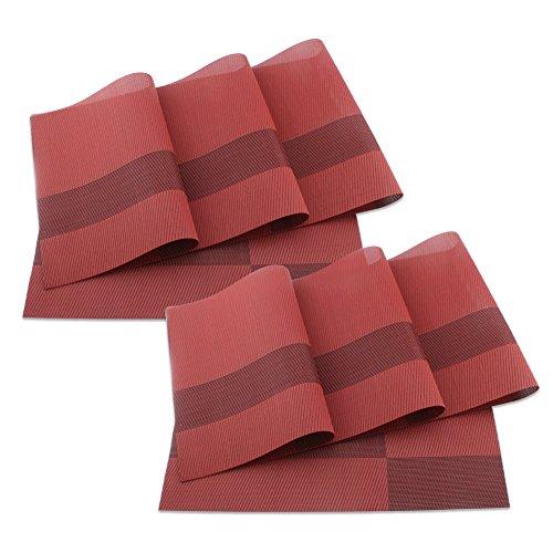 sueh-design-set-8-pezzi-tovaglietta-45-30-cm-plastica-rosso