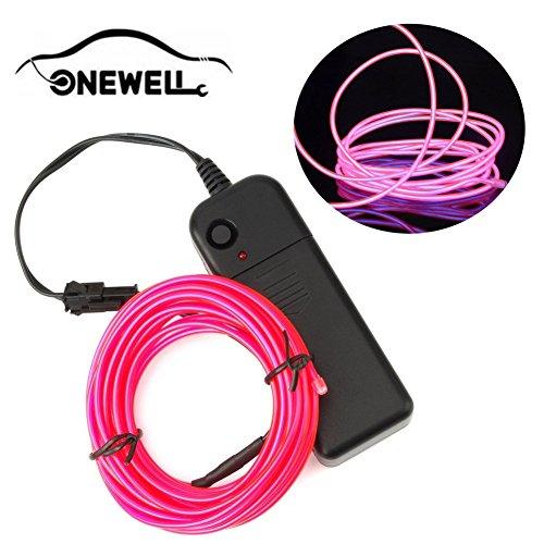 (Onewell 15 ft Neonlicht, LED Neon LED Licht Glow EL Wire String Streifen Seil Tube für Auto Dekoration, Party, Halloween. (Pink))