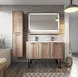 Badezimmer Badmöbel Tulum 120 cm Nature Wood - Unterschrank Schrank Doppelwaschbecken Waschtisch LED Spiegel