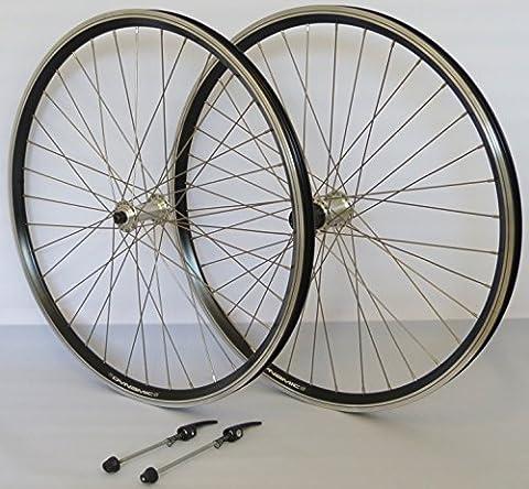 26 Zoll Fahrrad Laufradsatz Dynamic 4 Hohlkammerfelge schwarz Shimano THX800 silber Niro silber 36 Loch