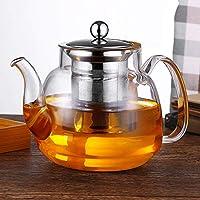 WTING Tetera de Cristal con Infusor, 500 ml 600 ml 700 ml 800 ml 1000 ml de borosilicato Tea Pot, extraíble té del Acero Inoxidable Maker- Muy Adecuado para Granel té y té perfumado,600ml