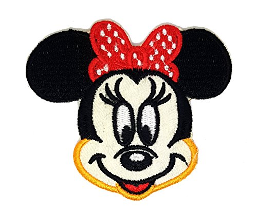 Walt Disney Mini Maus Kopf Polka Dot Schleife | Stickerei Hohe Qualität Eisen auf Sew auf Patch Abzeichen für Kleidung Jacken T-Shirts Mäntel Taschen Hüte Geldbeutel (Disney Stickerei-maschine)
