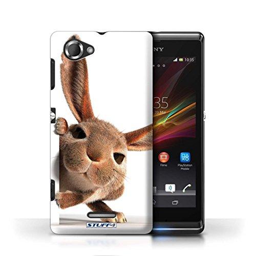 Coque en plastique pour Sony Xperia L/C2105 Collection Animaux comiques - Chien somnolent Petit lapin curieux