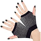 Adults Short Fishnet Fingerless Gloves 1980's Rave Fancy Dress Neon Accessories