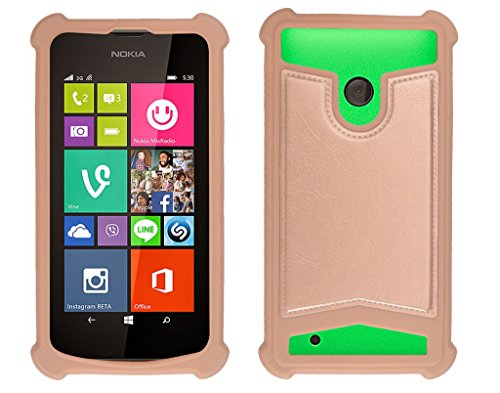 Shopme Shock proof,Silicon,Premium PU Leather Back cover for NOKIA Lumia 530 Dual (Golden Color) (Special Anti Shock Bumpers on all four sides , 360 degress Protection, Access to all Ports)  available at amazon for Rs.219