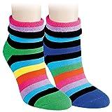 Vitasox 12790 Damen Thermo Socken mit Umschlag und Innenfrottee Baumwolle Thermosocken Damensocken bunte Ringel pink 2 Paar 39/42