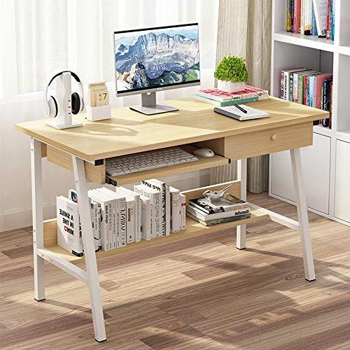 YBWEN Tisch Schreibtisch mit Schublade Tastatur Computer-Schreibtisch Home Office Computer Laptop Schreibtisch Möbel Studie Schreibtisch Workstation Schwarz Natural Color Schreibtisch Schreibtische -