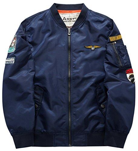 YYZYY Homme Classique Blousons Manteaux vol Air Force Aviateur Bomber MA1 Veste Pilot Flight Jacket Coat 16 couleur XS-4XL B1616-bleu marine
