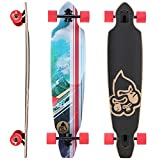 BIKESTAR Premium Canadian Maple Drop Through Flush Cut Pro Longboard Skateboard für Kinder und Erwachsene auch Anfänger ab ca. 12-14 Jahre ★ 75mm Downhill/Freeride/Race Edition ★ Big Waves Design