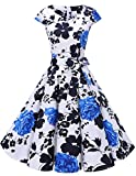 Dresstells Damen Vintage 50er Cap Sleeves Rockabilly Swing Kleider Retro Hepburn Stil Cocktailkleid White Blue Rose 3XL