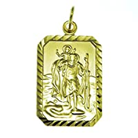 Mens 9ct Gold St Saint Christopher Pendant 3.3g & Jewellery Gift Box