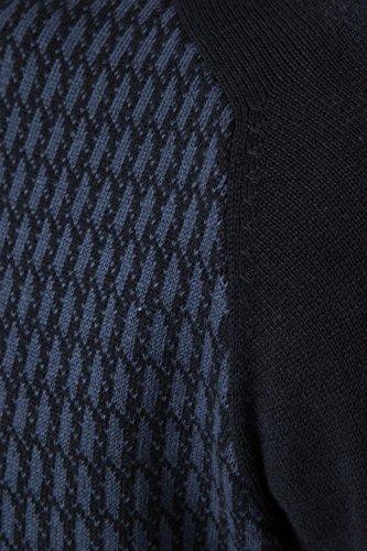 Threadbare Uomo Maglione Lavorato A Maglia Colonia Nuovo Pied-de-poule Motivo Maglione Pullover Top Blu