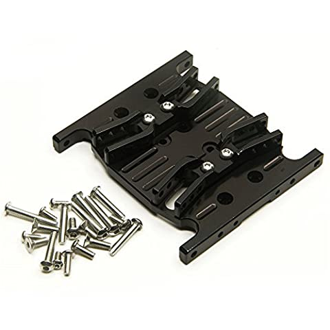 Black 1/10 Crawlers Car Parts Aluminum Alloy Center Skid Transmission Plate for RC Axial SCX10