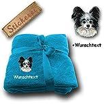 Kuscheldecke Chihuahua M2 + Wunschtext (Blau)