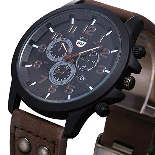 Räumung Uhr FGHYH Männer Armbanduhr Military Leather Waterproof Date Quartz Analog Army Men's Quartz Wrist Watches Armbanduhr Uhr(Kaffee)