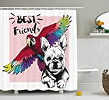 tgyew Modern Shower Curtain, French Bulldog And Tropical Parrot Figure with Best Friends Phrase Portrait Design, Fabric Bathroom Decor Set with Hooks, 60W X 72L Inche Extra Long