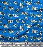 Soimoi Bleu Poly Georgette en Tissu Feuilles, Mouron & Colibri Oiseau Tissu Imprime 1 Metre 52 Pouce Large