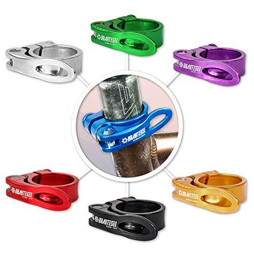 Drahtesel Fahrrad Schnellspanner, Sattelstütze, Sattel-klemme, Sattel-schelle, Klemmring, Sattelstützenklemme, Schnellverschluss in 28,6mm, 30,2mm, 31,8mm, 34,9mm (Blau, 34,9mm) - Klemme Blau Sattelstütze
