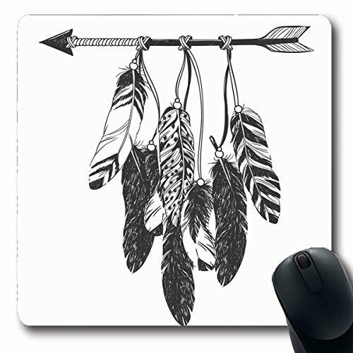 Alfombrillas de ratón Tatuaje Atrapasueños Flecha Plumas Cultura americana nativa americana Talismán Hipster Boho Libro de colorear Juego antideslizante Alfombrilla para ratón Alfombrilla de goma oblo