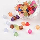 PandaHall Misch satiniertem Acryl Blume Perlen kappen, größe 10 mm breit, 6 mm dick, Bohrung: 1.5 mm
