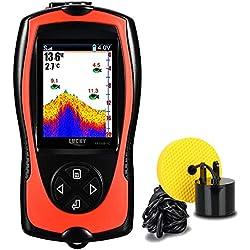 Lucky Détecteur de Poissons Portable Filaire Sonar Détecteur de Profondeur d'eau Écran LCD pour la pêche en Kayak Pêche sur la mer Pêche en mer