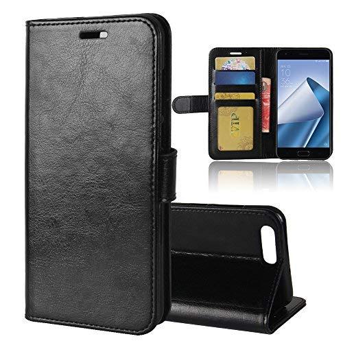 ASUS Zenfone 4 ZE554KL Brieftasche Hülle, GOGMEE Senior PU-Leder Brieftasche Telefon-Kasten mit Einschubfächer für Karten, Magnetische Verschluss, Flip Bracket Funktion, Schwarz