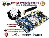 SIM808 Module gsm GPRS GPS Development Board IPX SMA with GPS gsm Antenna |SIM808 Modul GSM GPRS GPS Entwicklungsboard IPX SMA mit GPS GSM-Antenne