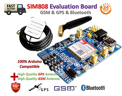 SIM808 Module GSM GPRS GPS Development Board IPX SMA with GPS GSM Antenna | Modulo SIM808 GSM GPRS, Development Board IPX SMA con GSM/GPS aerea voce di sostegno, per Raspberry Pi, STM32 51MCU, Arduino Raspberry Pi supporto 2G 3G 4G SIM