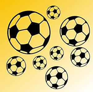 WANDTATTOO Wand Aufkleber / Ball Bälle Fußball Set XL -8 Fußbälle /schwarz