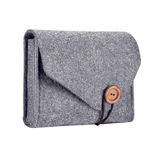 ProCase Estuche de Almacenamiento de Fieltro, Bolsa Portable Organizadora de Accesorios Electrónicos para MacBook Laptop Fuente de Alimentación Adaptador Cargador Ratón Teléfono SSD HHD - Gris