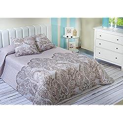 Algodón Blanco Pego - Colcha bouti estampada, para cama de 150 cm, 250 x 270 cm, 2 fundas de cojín, 60 x 60 cm