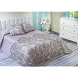 Algodón Blanco Pego - Colcha bouti estampada, para cama de 135 cm, 235 x 270 cm, 2 fundas de cojín, 60 x 60 cm