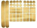 Finest Folia 34 Teiliges Fahrrad Rahmen Schutzfolie Folie Aufkleber Schutz MTB BMX Kette Lackschutzfolie (Carbon Gold)