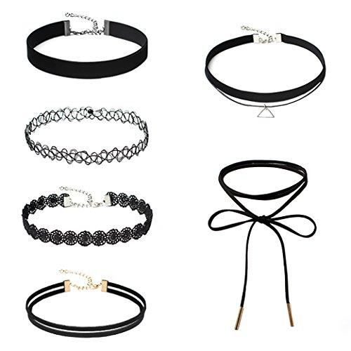 Girocollo Collana Black Velvet da donna ragazze Lace girocolli gotico Tatuaggio collane (8-(6pcs))