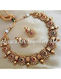 Apsara Art Jewellery Gold Plated kundan Stone Studded Copper Necklace Choker Set for Girls and Womens