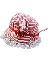 SAMGU Été bébé nouveau-né tout-petits mignons rayé Photographie Props Filles Fleur Dentelle Sun Hat Cap Cotton Hat