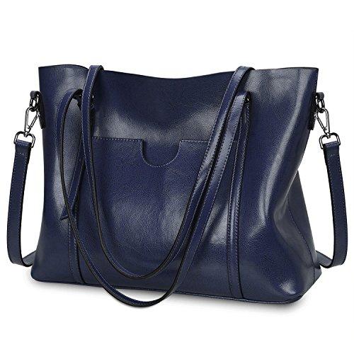 S-ZONE Damen Vintage 3-Way Echtes Leder Tote Schultertasche Handtasche Mode Handtasche Messenger Bag (Handtasche Damen Zubehör Blaue)