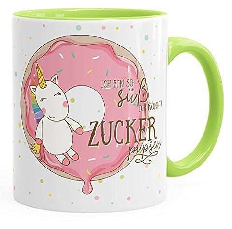 Tasse mit Innenfarbe Einhorn auf Donut Ich bin so süß ich könnte Zucker pupsen Unicorn mit Innenfarbe MoonWorks® hellgrün unisize