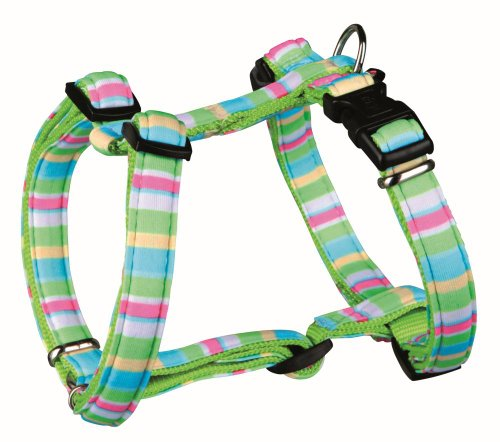 Trixie 16113 Impression H-Geschirr Stripes, S–M: 40–65 cm/15 mm, grün