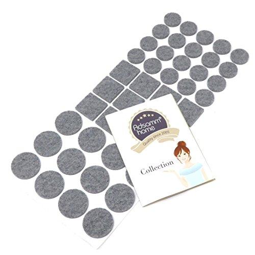 44-teiliges Filzgleiter-Set | selbstklebend | verschiedene Größen | Grau | Filz-Möbelgleiter in Top-Qualität von Adsamm® (3,5 mm) (Grau 12x12 Fliese)